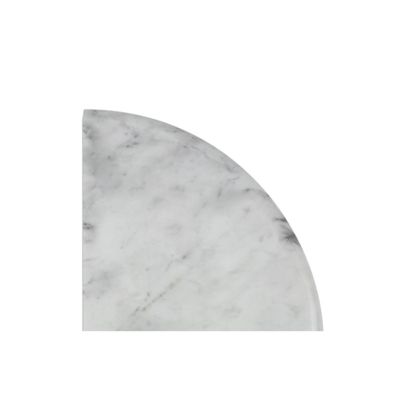 Italia F Carrara White Marble Honed Hand Carved Flat Corner Fixture