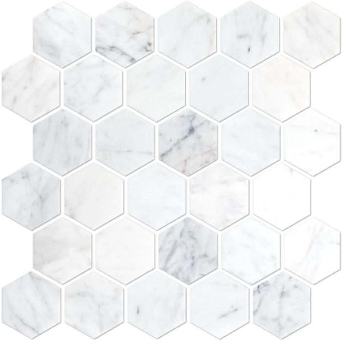 Italia F Carrara White Marble Honed Hexagon Mosaic Tile - 2 x 2 in.