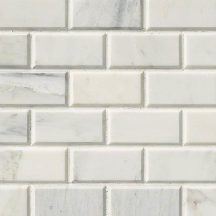 Hampton Carrara Marble Honed & Beveled Amalfi Subway Wall & Floor Mosaic Tile