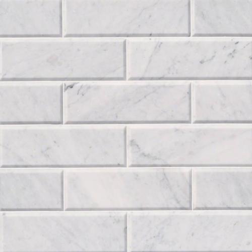 Hampton Carrara Marble Honed & Beveled Subway Wall & Floor Tile