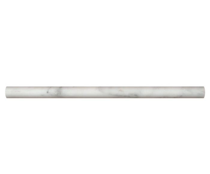 Hampton Carrara Marble Honed Peppin Pencil Trim - 3/4 x 3/4 x 12 in.