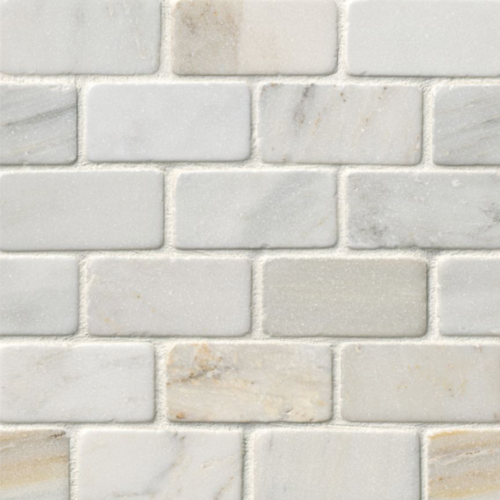 Hampton Carrara Marble Tumbled Amalfi Subway Mosaic Tile