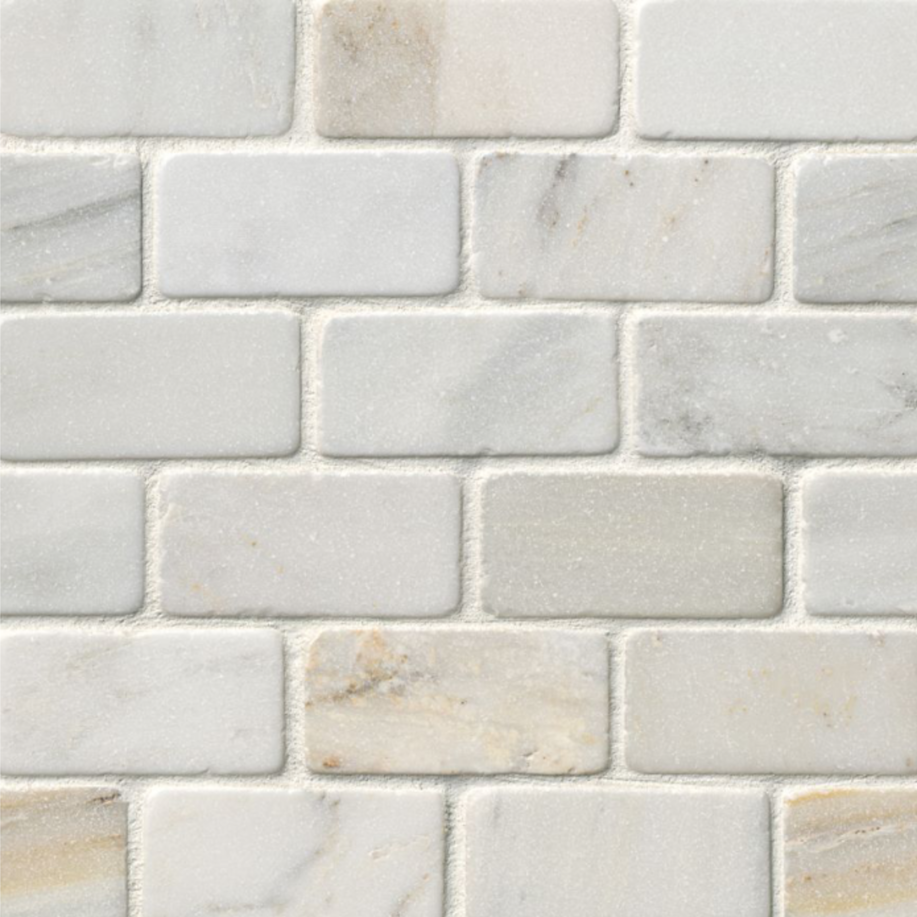 Hampton Carrara Marble Tumbled Amalfi Subway Mosaic Tile