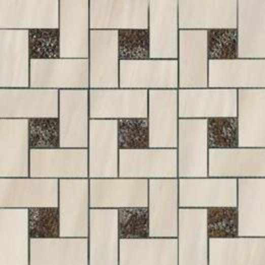 Dolomite Beige Deco Pinwheel Polished Mosaic