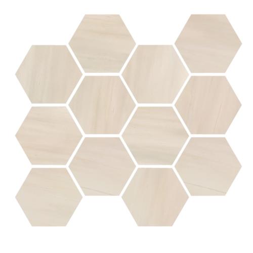 Dolomite Beige Natural:Polished Hexagon Mosaic (12 x 14 Sheet)