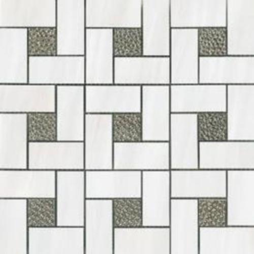 Dolomite White Deco Pinwheel Polished Mosaic 12x12 in