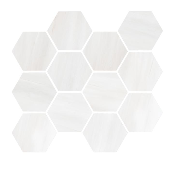 Dolomite White Natural:Polished Hexagon Mosaic (12 x 14 Sheet)