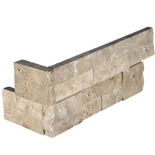 Durango Travertine Splitface Architectural Wall Ledger Corner 6x18 in (6x12+6x6 in.)