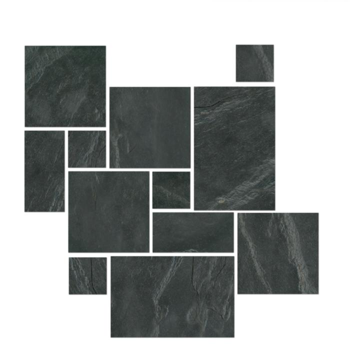 Mont Adoni Nero Black Versailles Pattern Large Tile