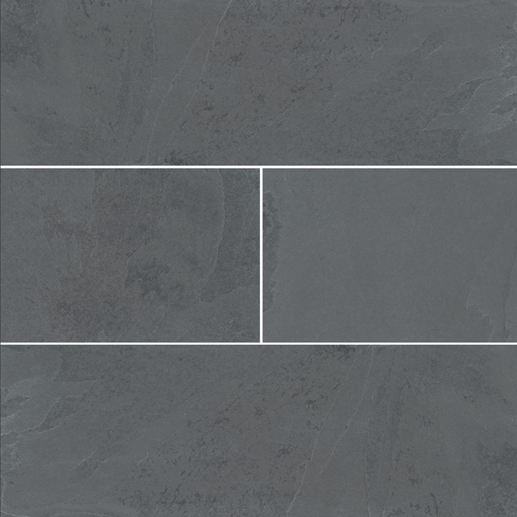 "Mont Adoni Nero Slate Gauged Subway Wall Tile 4 x 12"""