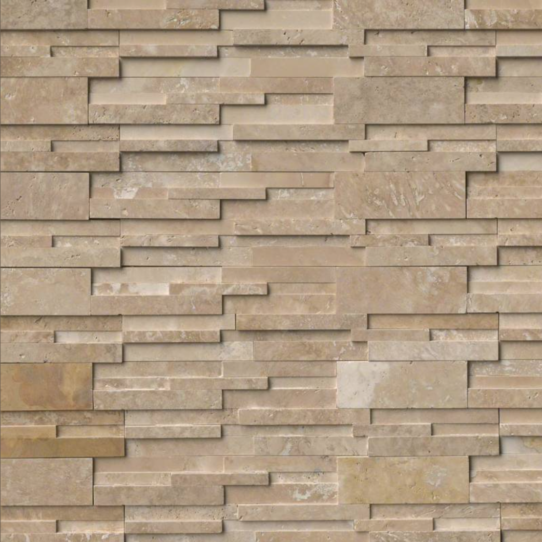 Durango Travertine Honed 3D Architectural Wall Ledger Panel 6x24 in.