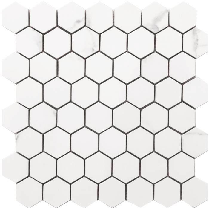 Statuario 10.5x 11 Small Hex Mosaic Glossy