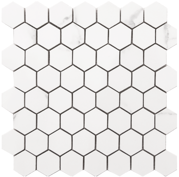 Statuario 10.5x 11 Small Hex Mosaic Matte