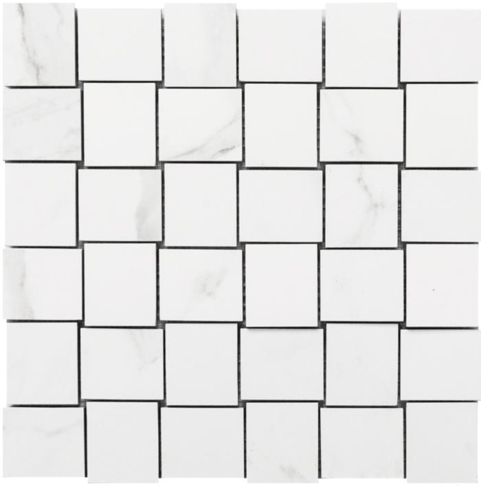 Statuario 12x 12 Basketweave Mosaic Glossy