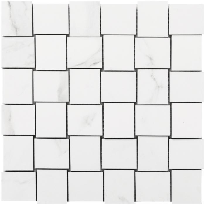 Statuario 12x 12 Basketweave Mosaic Matte