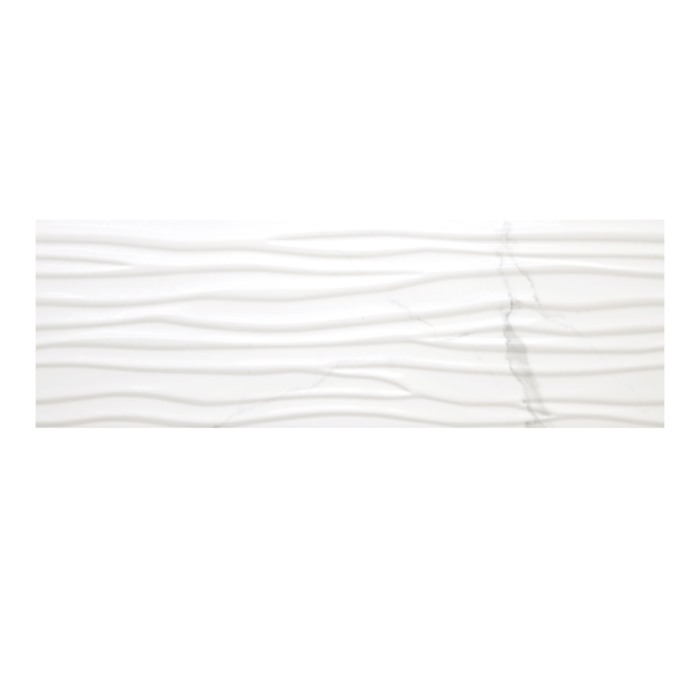 Statuario 12x 36 Wave Wall Tile Glossy