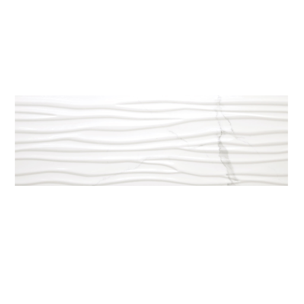 Statuario 12x 36 Wave Wall Tile Matte
