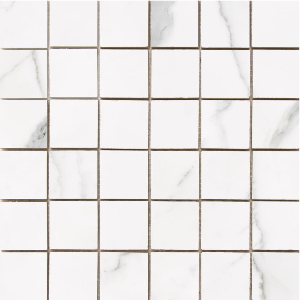 Statuario 2x 2 porcelain Mosaic Glossy