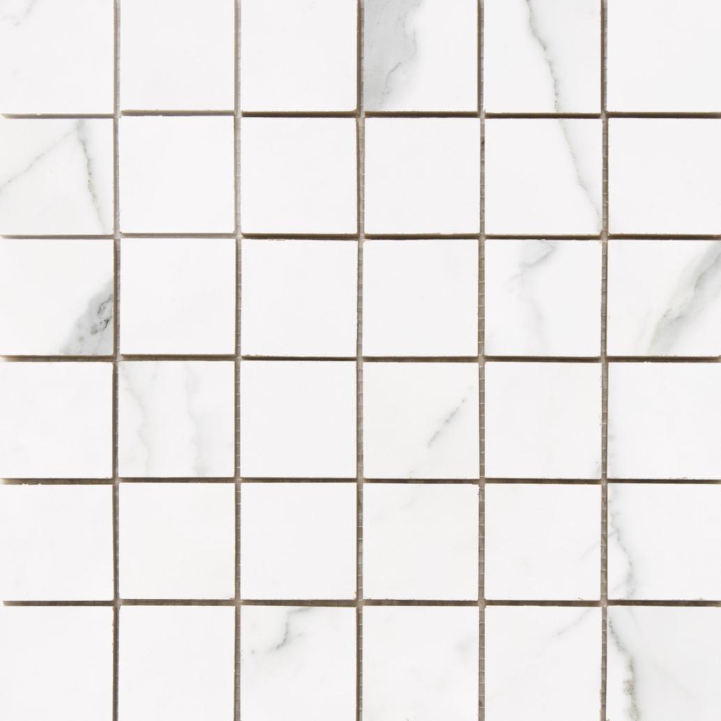 Statuario 2x 2 Porcelain Mosaic Matte