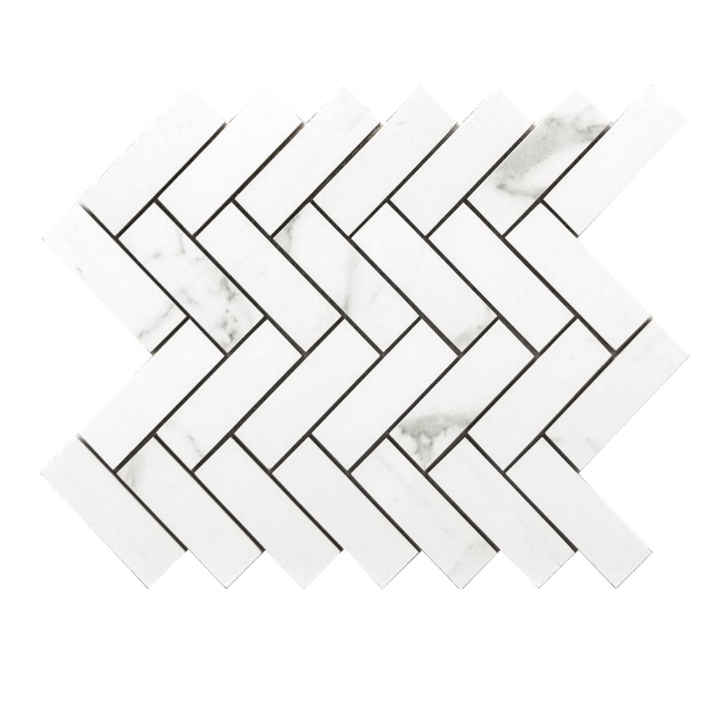Statuario 9x 12 Herringbone Mosaic Matte