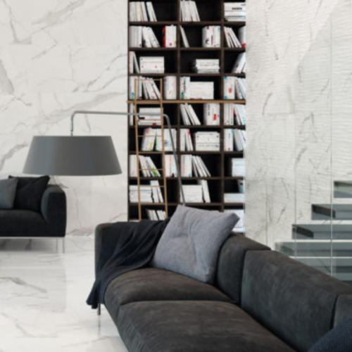 Statuario Wave Wall Tile Glossy Porcelain