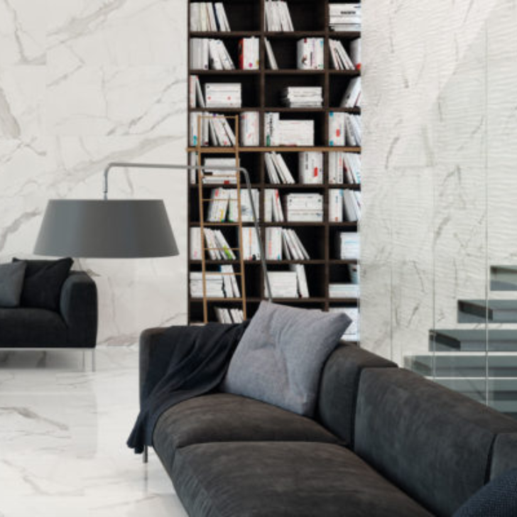 Statuario Wave Wall Tile Glossy Porcelain