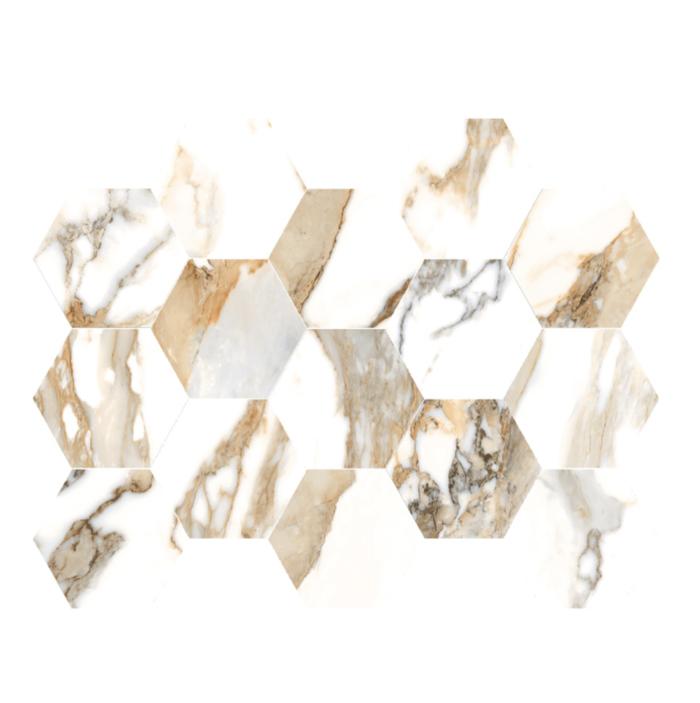 Beige Crash HEXAGON MOSAIC (10 x 14 sheet)