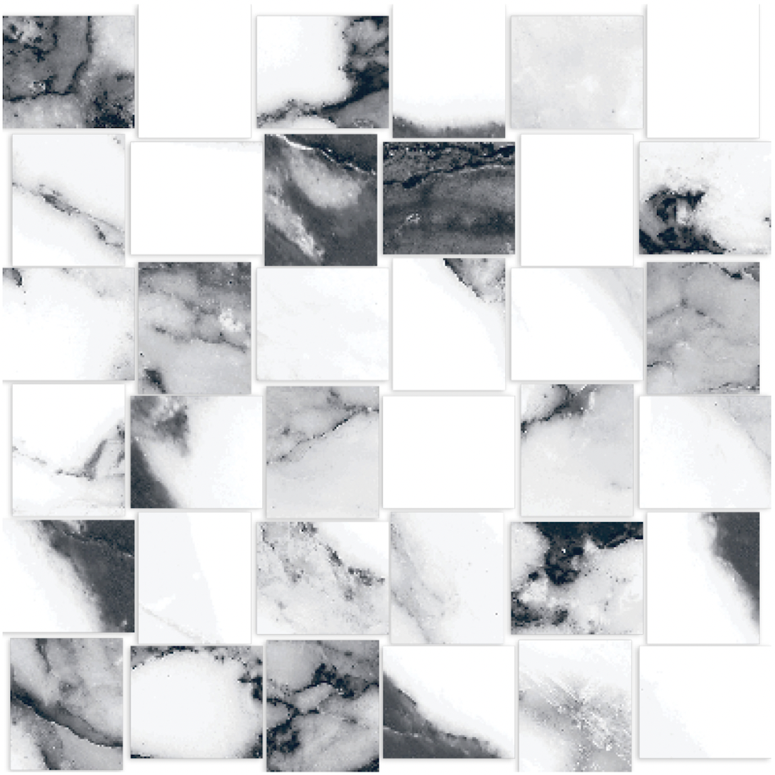 Happy Floors Crash Blanco BASKETWEAVE MOSAIC(12 X 12 SHEET)